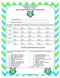 Green and Blue Chevron Owl Behavior Chart-Houston