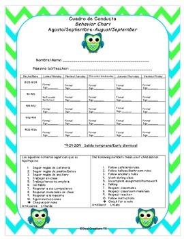 Green and Blue Chevron Owl Behavior Chart-Houston