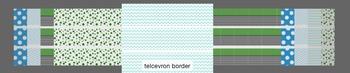 Green and Blue Chevron Polka Dot Border