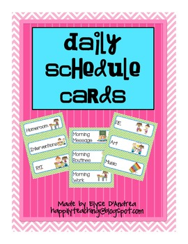 Green and Blue Daily Schedule Cards