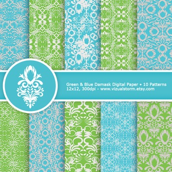 Green and Blue Damask Digital Paper, 10 Printable Damask Background Patterns