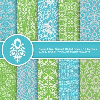 Green and Blue Damask Digital Paper, 10 Printable Damask B