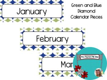 Green and Blue Diamond Calendar Pieces