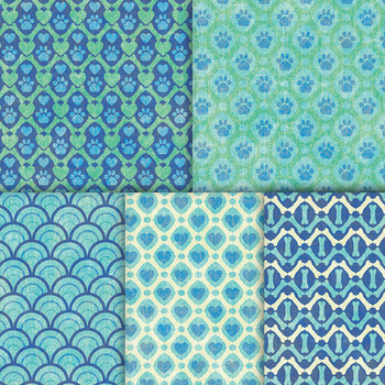 Green and Blue Dog Backgrounds - 10 Handmade Printable Pet Digital Papers