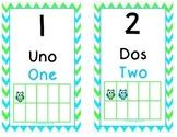 Green and Blue Owl Ten Frames (1-30) Dual Language/ESL/Bilingual