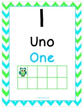 Green and Blue Owl Ten Frames (1-30) Dual Language/ESL/Bilingual