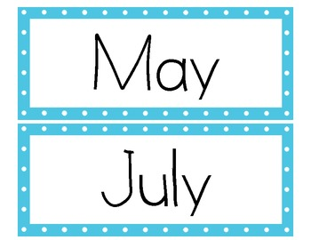 Green and Blue Polka Dot Months Posters