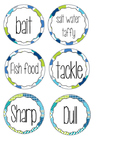 Green and Blue Sea life Treat and Pencil Cup Labels