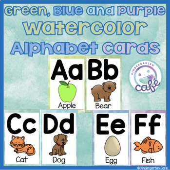 Green and Blue Watercolor Alphabet Cards