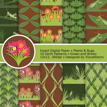 Insect Digital Paper, 10 Printable Garden Patterns - Bugs, Plants and Flowers