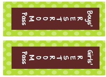 Green and Brown with Polka Dots Classroom Set Calendar, Labels, Center Labels