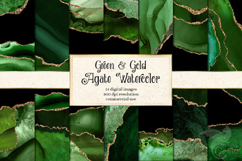 Green and Gold Agate Watercolor Digital Paper