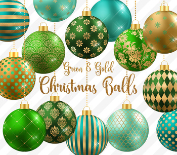 Green and Gold Christmas Balls, Baubles, Ornaments Clipart