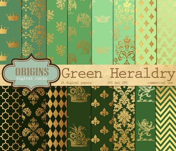 Green and Gold Heraldic Crests Medieval Heraldry Backgrounds