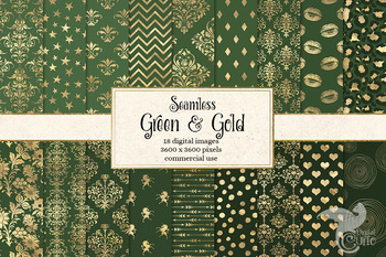 Green and Gold digital paper, seamless gold and forest green patterns