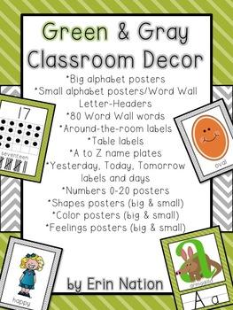 Green and Gray Classroom Decor bundle