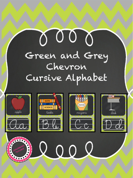 Green and Grey Chevron Chalkboard Classroom Signs