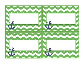 Green and Navy Nautical Labels