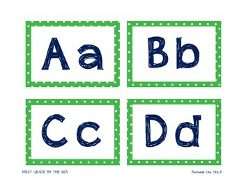 Green and Navy Word Wall Headers