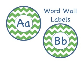 Green and Navy chevron word wall labels!