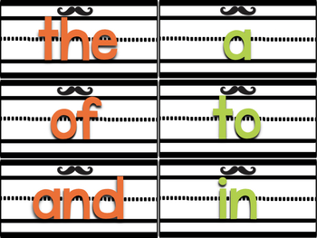 Green and Orange Sentence Strip Sight Words