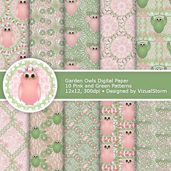 Garden Owl Digital Paper, 10 Pink and Green Floral Owls Spring Printables