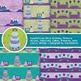 Green and Purple Birthday Digital Paper - 10 Handmade Birthday Party Patterns