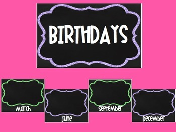Green and Purple Chalkboard Birthday Posters