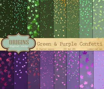 Green and Purple Confetti Bokeh Digital Paper Pack