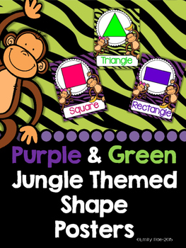 Green and Purple Jungle Themed Shape Posters 2D and 3D Ful