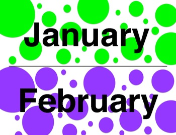 Green and Purple Polka Dot Month Titles