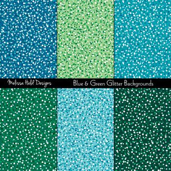 Blue & Green Glitter Textured Backgrounds