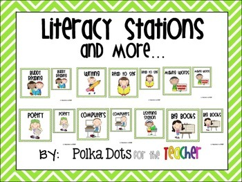 Green and White Chevron Literacy Stations