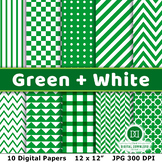 Green and White Digital Papers, Green Digital Papers, Gree
