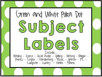 Green and White Subject Labels
