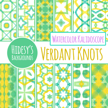 Green and Yellow Watercolor Digital Papers / Backgrounds / Patterns Clip Art Set