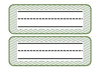 Green and white chevron name plates