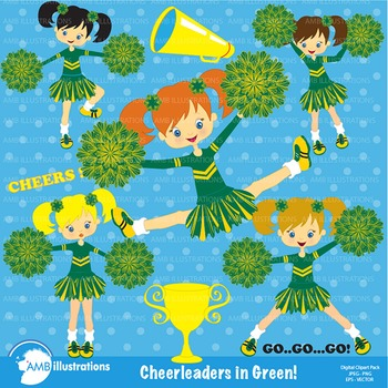 Clipart, Cheerleader clipart, Cheerleaders in green clip art, AMB-211