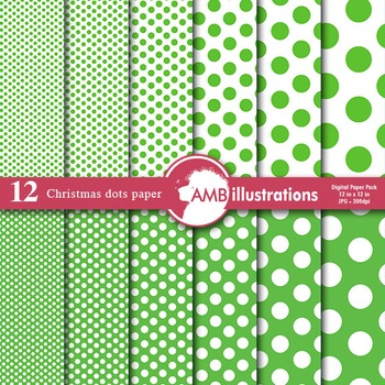 Digital Papers - Green colored Dot papers and backgrounds, AMB-579