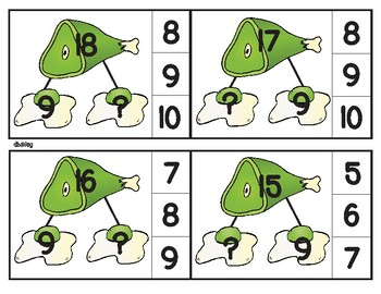 Green Eggs and Ham Number Bond Clip Cards facts 11-18