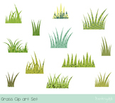 Green grass clipart, Easter spring grass with texture, Tuf