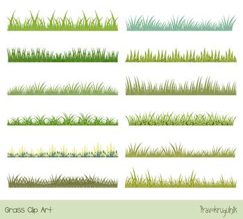 Green spring textured grass clipart, Easter or summer grass border, divider