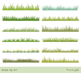 Green spring textured grass clipart, Easter or summer gras