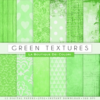 Green textures Digital Paper, scrapbook backgrounds
