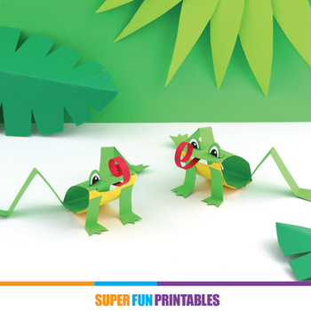 Green tree frog paper craft