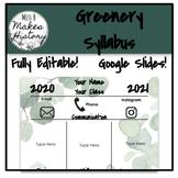 Greenery Class Syllabus! Google Slides!