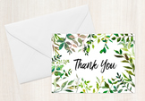 Greenery Folded Thank You Note Cards