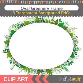 Greenery Oval Frame Clipart