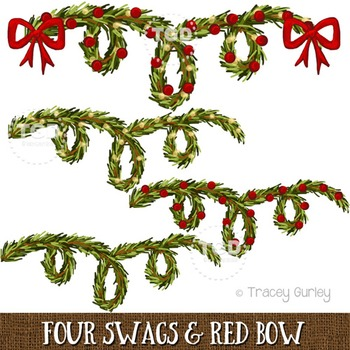 Greenery Swags and Red Bow Printable Tracey Gurley Designs