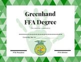 Greenhand FFA Degree Certificate